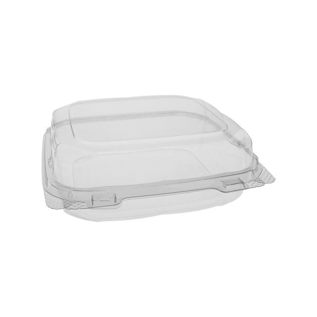 "8"" x 8"" x 3"" Recycled Plastic Hinged Lid 1 Compartment Takeout Container, Clear, 200 ct."