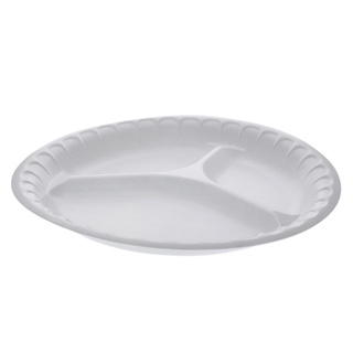 "10 1/4"" 3- Compartment Round Foam Plate, Non-Laminated, White, 540 ct."