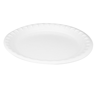 "10.25"" 1-Compartment Round Laminated Foam Plate, White, 540 ct."
