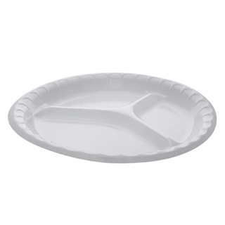 "10.25"" 3-Compartment Round Laminated Foam Plate, White, 540 ct."