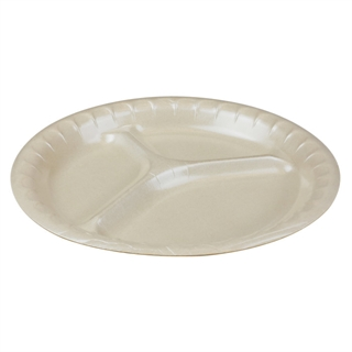 "10.25"" 3-Compartment Round Laminated Foam Plate, Vanilla, 540 ct."