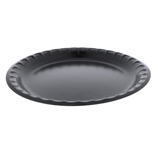 "10.25"" 1-Compartment Round Laminated Foam Plate, Black, 540 ct."