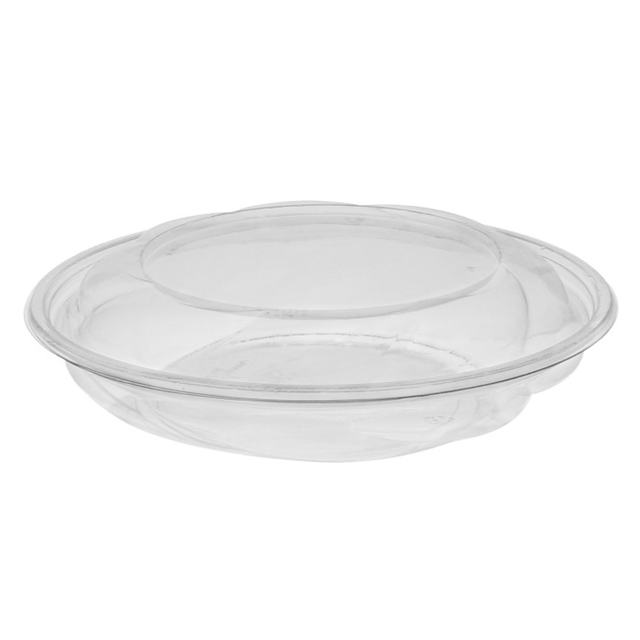 "10"", 40 oz. Recyclable Round Take Out Swirl Bowl With Lid Combo, Clear, 100 ct."