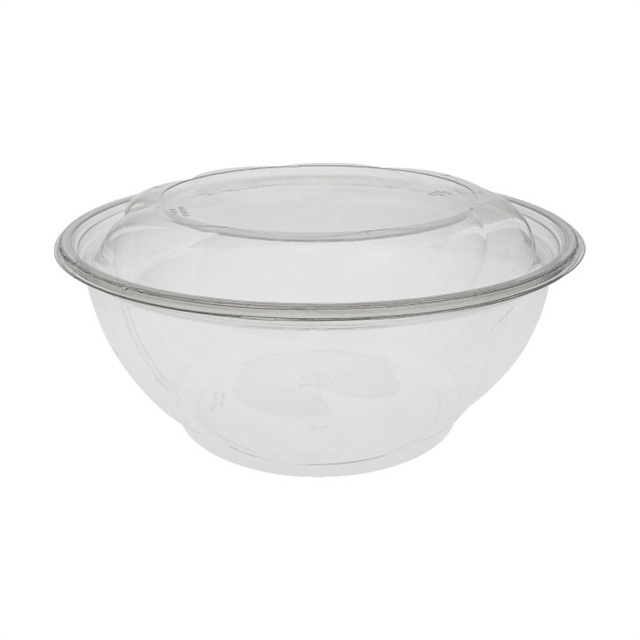 "10"", 96 oz. Recyclable Round Take Out Swirl Bowl With Lid Combo, Clear, 100 ct."