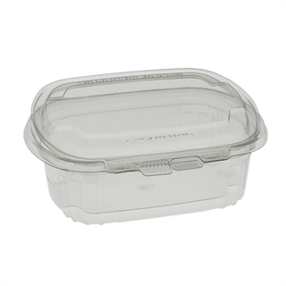 24 oz Tamper Resistant Recycled Plastic Hinged Deli Container, Clear, 140ct.