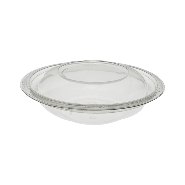 "7"", 16 oz Recyclable Round Take Out Swirl Bowl With Lid (Combo), Clear, 300 ct."
