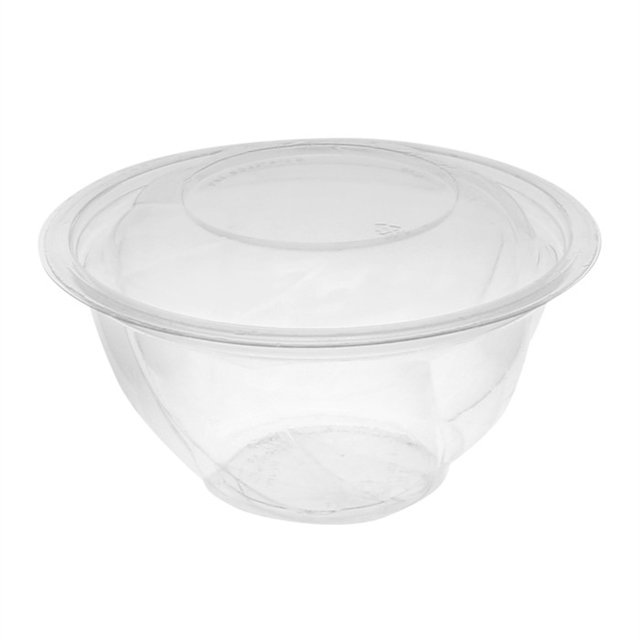 "7"", 32 oz Round Recycled Plastic Take Out Swirl Bowl With Lid (Combo), Clear, 600 ct."