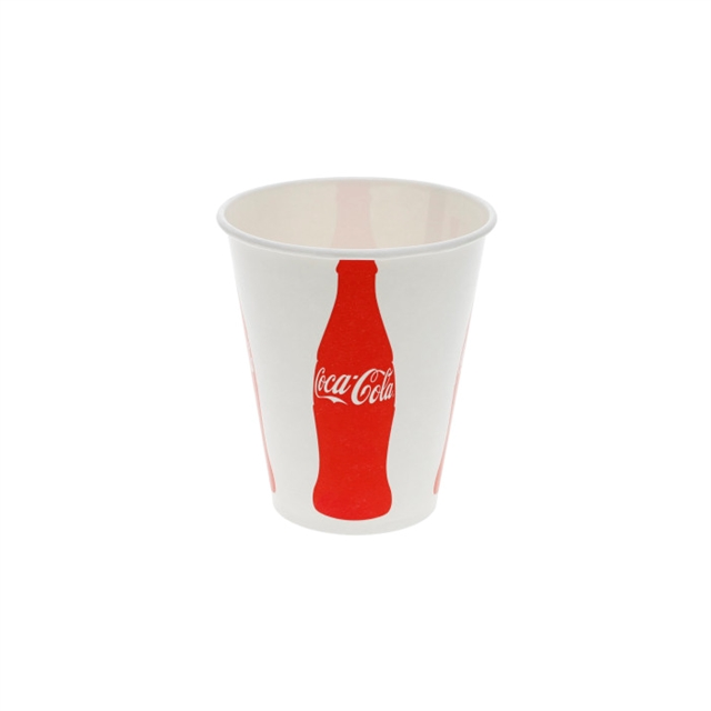 12 oz. Poly Coated Paper Cold Cup, Iconic Coke Print, White and Red, 1,200 ct.