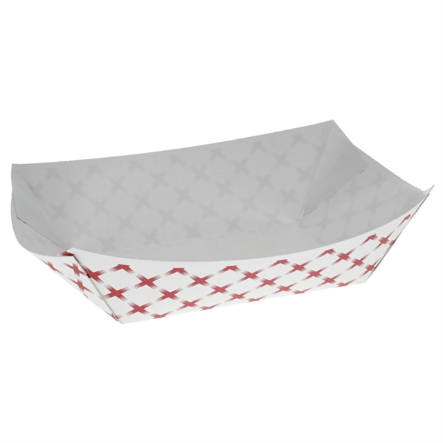 #1 1lb. Paper Food Tray, Basketweave Red and White, 1,000 ct.