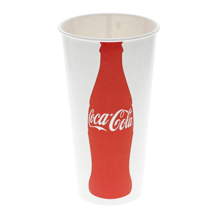 22 oz. Poly Coated Paper Cold Cup, Iconic Coke Print, White and Red, 1,200 ct.
