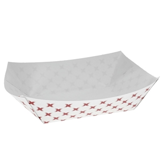 #2 2lb Paper Food Tray, Basketweave Red and White, 1,000 ct.