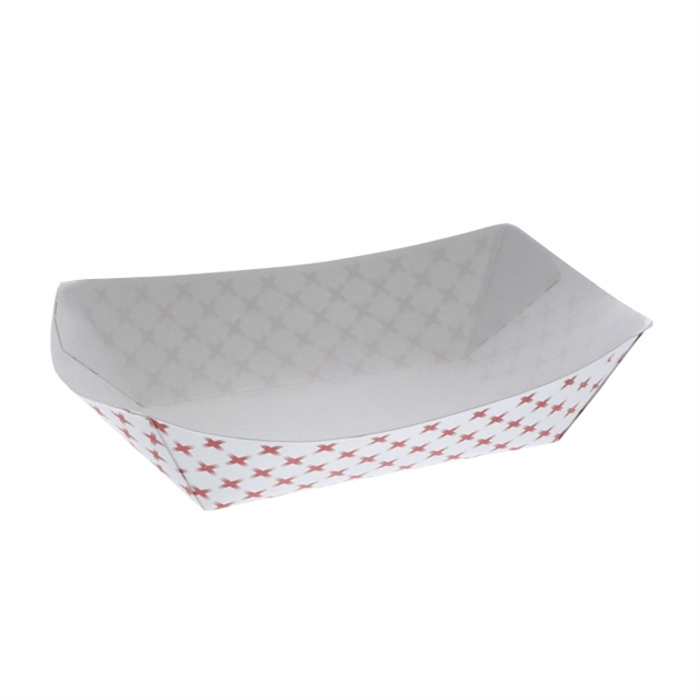 #3 3lb Paper Food Tray, Basketweave Red and White, 1,000 ct.