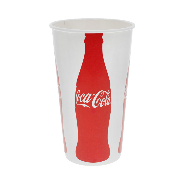 44 oz. Poly Coated Paper Cold Cup, Iconic Coke Print, White and Red, 600 ct.