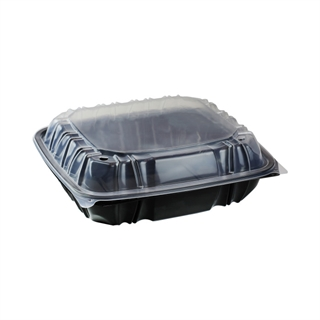 "10.5"" X 9.5"" Vented Microwavable 1-Compartment Hinged-Lid Takeout Container, Black/Clear, 132ct."