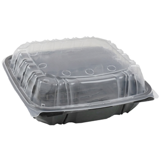 "10.5"" X 9.5"" Extra Vented Microwavable 1-Compartment Hinged-Lid Takeout Container, Black/Clear, 144ct."