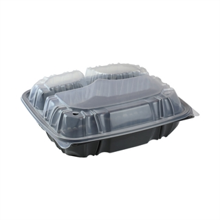 "10.5"" X 9.5"" Vented Microwavable 3-Compartment Hinged-Lid Takeout Container, Black/Clear, 132ct."