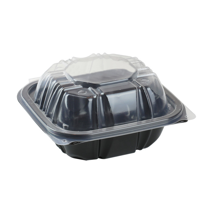 "6"" x 6"" Vented Microwavable 1-Compartment Hinged-Lid Takeout Container, Black/Clear, 321ct  ."