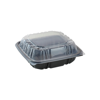 "7.5"" X 7.5"" Vented Microwavable 1-Compartment Hinged-Lid Takeout Container, Black/Clear, 150ct."