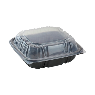 "8.5"" X 8.5"" Vented Microwavable 3-Compartment Hinged-Lid Takeout Container, Black/Clear, 150ct."