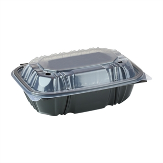 "9"" X 6"" Vented Microwavable 1-Compartment Hinged-Lid Takeout Container, Black/Clear, 140ct."