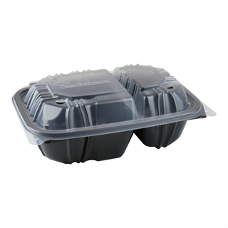 "9"" X 6"" Vented Microwavable 2-Compartment Hinged-Lid Takeout Container, Black/Clear, 140ct."