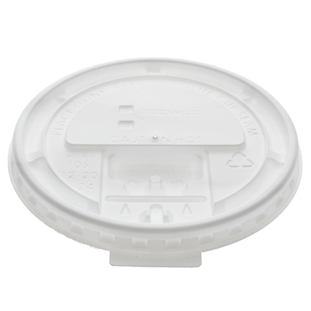 Tear Back Lid for 10–24 oz. Hot Paper Cup, White, 1000 ct.