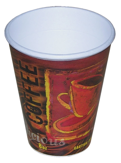 8OZ LABELED HOT CUP 25-40 BG  SYSCO 5413