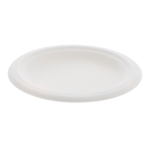 "6"" Compostable 1-Compartment Fiber-Blend Bagasse Plate, Natural, 1,000 ct."