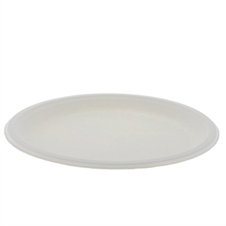 "10"" Compostable 1-Compartment Fiber-Blend Bagasse Plate, Natural, 500 ct."