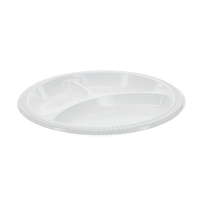 "10.25"" - 3 Comp PLASTIC PLATE SYS WHITE"