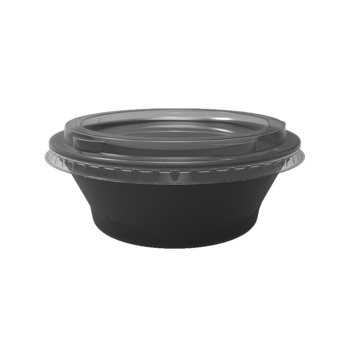 8 oz. Deli2Go™ Plastic Microwavable Side Container Base, Black, 900 ct.