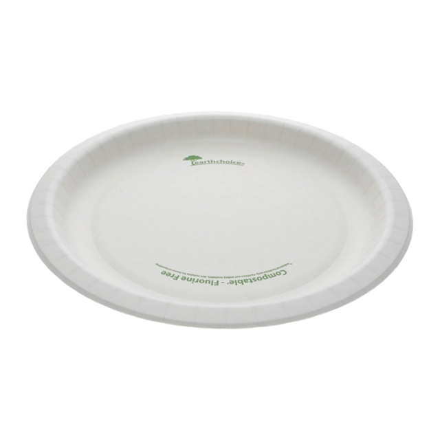 "10"" Compostable Pressware Paper Plate, Printed White, 300 ct."