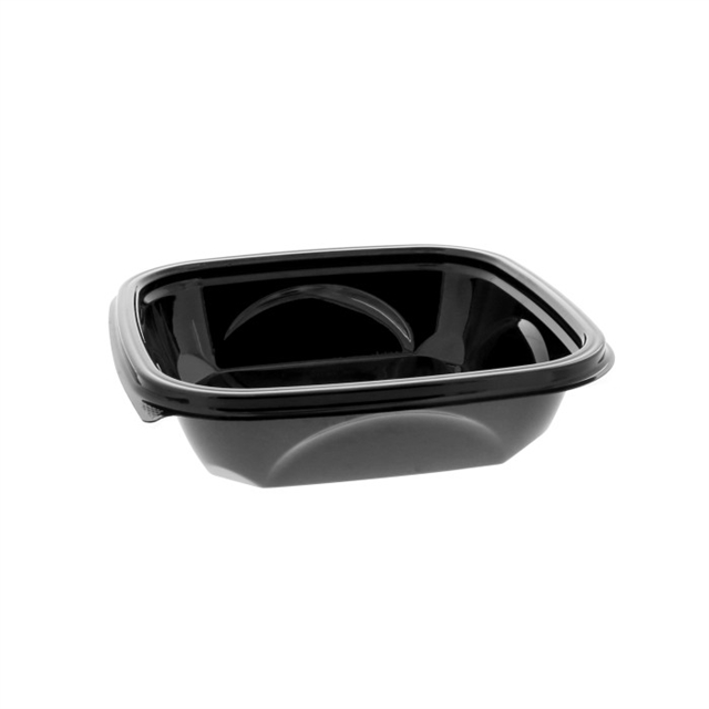 "24 oz 7"" x 7"" x 2"" Square Recycled Plastic Bowl, Black, 300 ct."