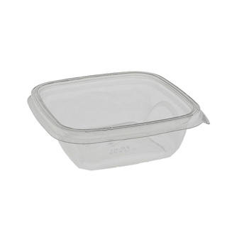 "12 oz. 5"" x 5"" Square Recycled Plastic Bowl, Clear, 504 ct."