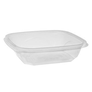 "24 oz. 7"" x 7"" x 2"" Square Recycled Plastic Bowl, Clear, 300 ct."