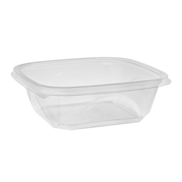 "Large 32 oz 7"" x 7"" x 2"" Square Recycled Plastic Bowl, Clear, 300 ct."