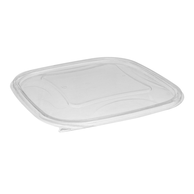 "9"" x 9"" Recycled Plastic Square Flat Lid for 48 - 64oz oz base , Clear, 150 ct."