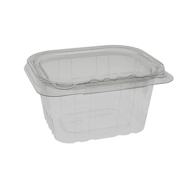 16 oz Tamper Evident Recycled Plastic Hinged Deli Container, Clear, 304ct.