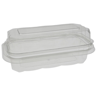"8"" x 4"" Tamper Evident Recycled Plastic Hinged Hoagie Container, Clear, 150 ct."