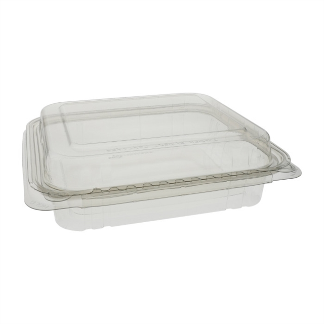 35 oz Shallow with Dome Lid. Tamper Evident Recycled Plastic Hinged Deli Container, Clear, 160ct.