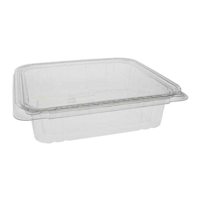 48 oz Shallow Tamper Evident Recycled Plastic Hinged Deli Container, Clear, 150ct.