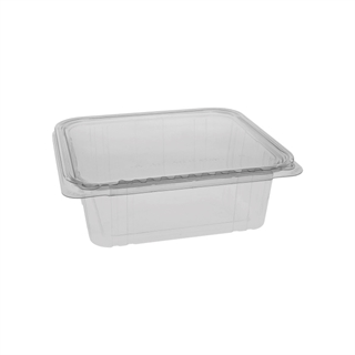 64 oz Tamper Evident Recycled Plastic Hinged Deli Container, Clear, 150ct.