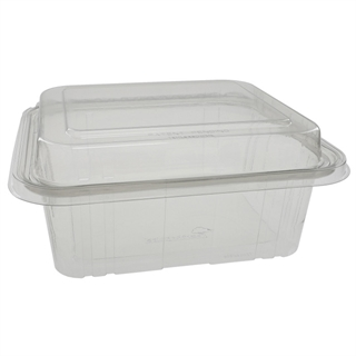 64 oz with Dome Lid, Tamper Evident Recycled Plastic Hinged Deli Container, Clear, 150ct.