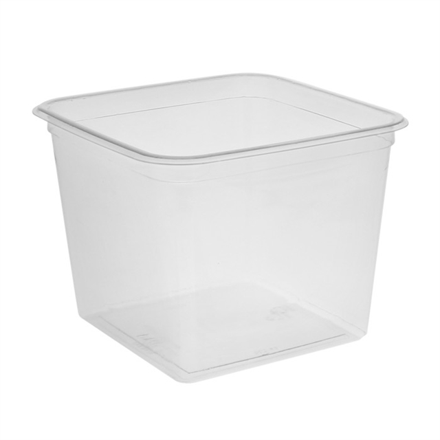 "6"", 60 oz Square Recycled Plastic Takeout Container, Clear, 180 ct."