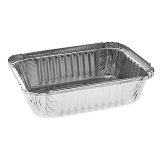 1 1/2 lb. 24 oz. Oblong Aluminum Takeout Container, Inverted Full Curl, 500 ct.