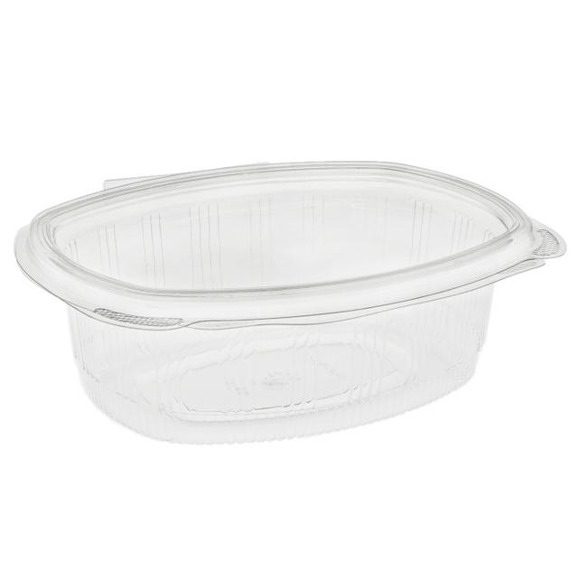 24 oz Recycled Plastic Hinged Lid 1 Compartment Takeout Deli Container, Clear, 280 ct.
