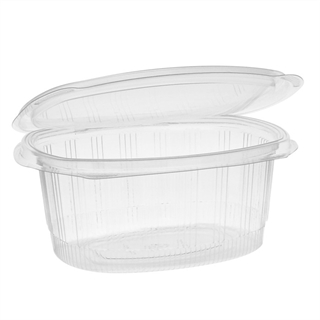 32 oz Recycled Plastic Hinged Lid 1 Compartment Takeout Deli Container, Clear, 280 ct.