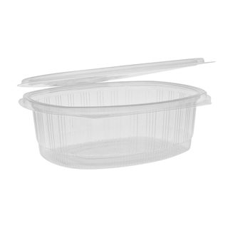 48 oz Recycled Plastic Hinged Lid 1 Compartment Takeout Deli Container, Clear, 190 ct.