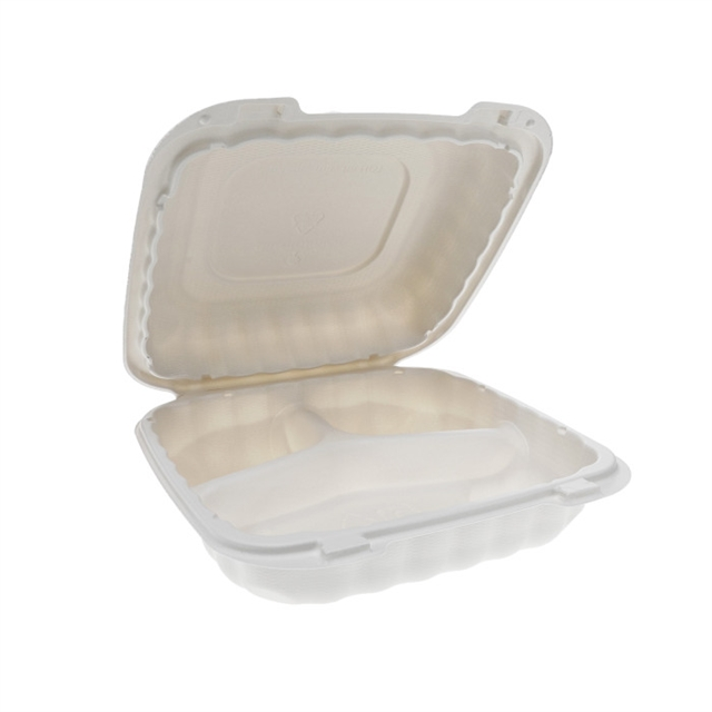 MFPP HINGED LID 8 X 8 3 COMP CONT-WHITE