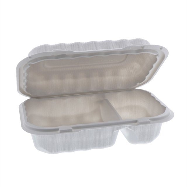 "9"" x 6"" x 3"" Microwavable 2-Compartment Hinged-Lid Hoagie Takeout Container, White, 270 ct."